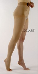 Sigvaris 500 Natural Rubber 30-40 mmHg Open Toe Unisex Thigh High with Waist Attachment - 503W