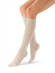 Jobst Women's soSoft Ribbed Pattern 20-30 mmHg Closed Toe Knee High Support Socks