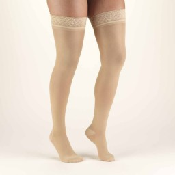 Truform Women's TruSheer 30-40 mmHg Thigh Highs with Lace Silicone Top Band