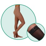 Juzo Hostess 2502 Closed Toe Thigh Highs w/ Silicone Top Band 30-40 mmHg